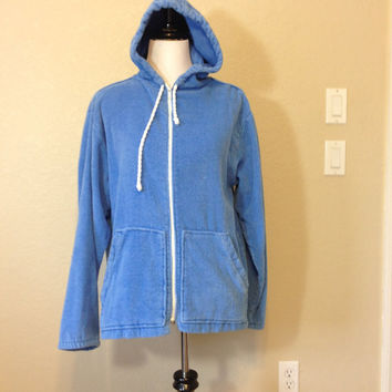 Blue Terry Cloth Sweat Shirt with Hood and Front Pockets by Sea Island, Made in U.S.A., Adult Size Large