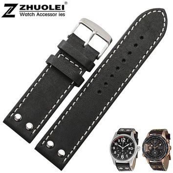20mm 22mm New men's high quality Genuine Leather Watch Band Strap Bracelets Silver Stainless Steel Buckle Clasp For Hamilton