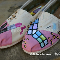 Cosmetics & Leopard Print Custom Hand Painted TOMS Shoes II
