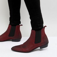 Walk London Ziggy Leather Chelsea Boots In Red at asos.com