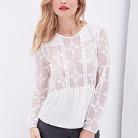 LOVE 21 Floral Embroidered Blouse Cream