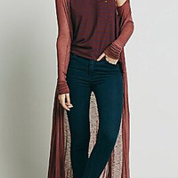 Wine Red Loose-Fitting Long Cardigan