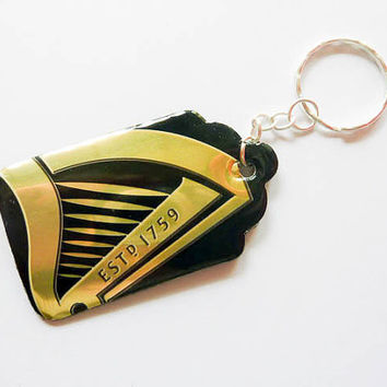 Key Chain Made from Guinness beer can - man key ring - Guy key chain - Recycled Upclyed Soda Can - Clip for Backpack - unique gift for him