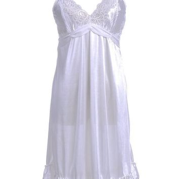 Anna-Kaci S/M Fit White Flutter Sleeve Lace Fish Scale Pattern Cups Negligee