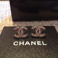 AUTHENTIC CHANEL CLASSIC CC LOGO STUD EARRINGS WITH RECEIPT!