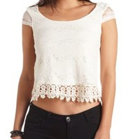 Crochet-Trimmed Cap Sleeve Lace Crop Top by Charlotte Russe - Ivory