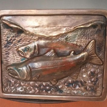 Holiday Price Reduction to 150.00 Salmon Buckle Handmade in Bronze with handcrafted leather belt, Fly Fishing Buckle with organic patina