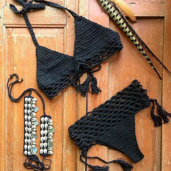 2016 New Limited Handmade Knitting Crochet Bikini Womens Swimwear Summer Gift