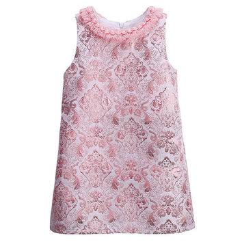 Pearl Lace Neck Baby Girls Dress Pink Embroidery Vintage Party Wedding Dresses for Girls Clothes Princess Kids Dress 3-8T