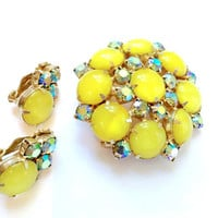 Lemon Yellow Rhinestone Brooch Earring Set Retro Fashion Jewelry