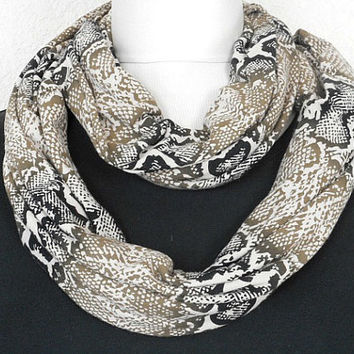 Christmas in July Sale Python Print Scarf Infinity Animal Olive Green Black Beige - Circle Scarf - Cowl Scarf