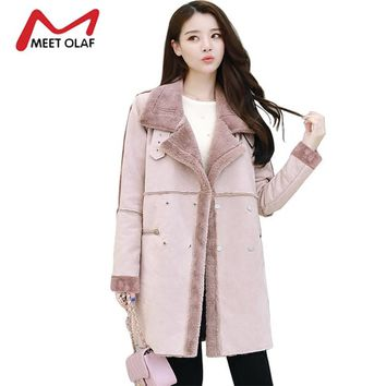 2017 Women Suede Leather Coats Long Double Breasted Trench Coats Female Winter Jackets Ladies Faux Sheepskin Windbreakers Y1627