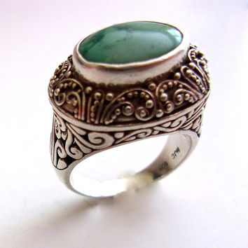 SAMUEL BEHNAM BJC Green Gemstone Sterling Silver Ring, Scroll Work, Vintage sz 10 - 10.25