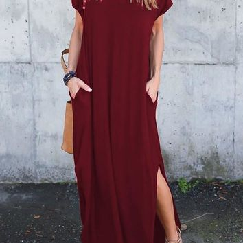 Burgundy Double Slit Draped V-neck Short Sleeve Casual Maxi Dress