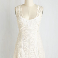 Boho Mid-length Sleeveless Ethereal Encounter Top in Ivory by ModCloth