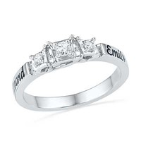Couple's 1/10 CT. T.W. Diamond Promise Ring in Sterling Silver (2 Names)