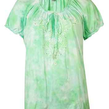 JM Collection Women's Embroidered Tie-Dyed Peasant Top