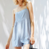 Cooperative Straight-Neck Striped Romper   Urban Outfitters
