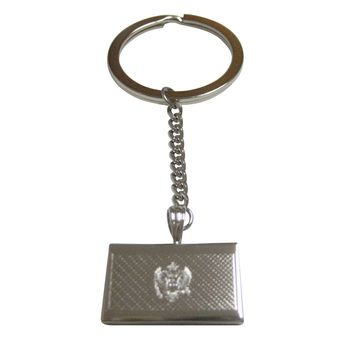 Silver Toned Etched Montenegro Flag Pendant Keychain