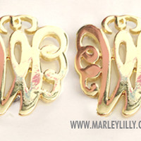 Monogrammed Single Initial Gold Cut Out Earrings on Posts | Earrings | Marley Lilly