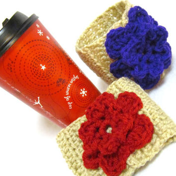 Tan Crochet Coffee Cup Cozy with Flower Embellishment, Crocheted Coffee Cup Sleeve with Big Flower, Mothers Day Gift for the Coffee Lover