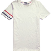 White Stripe Printed T-shirt