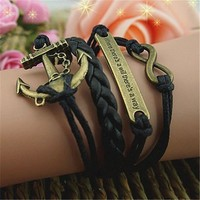 MP Anchor Braid Infinity 4 Layers Black Handmade MultiLayered Bracelet BDP0529
