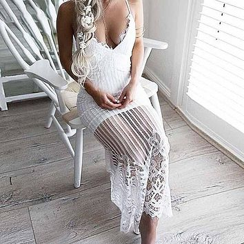 Off Shoulder Deep V Neck Sexy Dress Women Beach Mesh Lace Backless Party Maxi Long Dresses