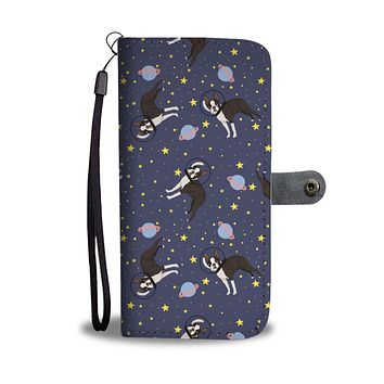 Space Boston Terrier Wallet Phone Case