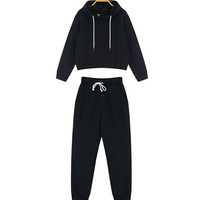 Black Two Piece Drawstring Hoodie with Sweat Pants