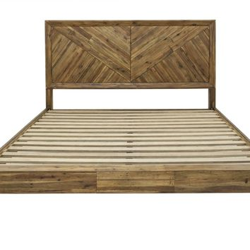 Parq Parquet Patterned Wood California King Bed
