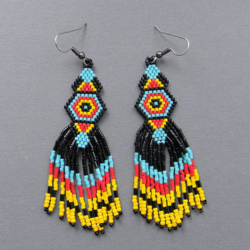 Black, yellow, red and turquoise seed bead earrings - Native American style, dangle long earrings, peyote earrings