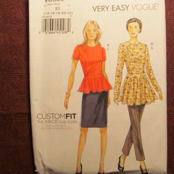 SALE Uncut Vogues Sewing Pattern, 8936! 6-22 Small/Medium/Large/Women's/Misses/Tunic Tops/Flared Blouse/Straight Skirts/Peplum Tops/Tapered