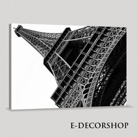 Decorative Black White France Paris Eiffel Tower Giclee Canvas Print Framed | Eiffel Tower Canvas Printing