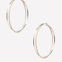 bebe Womens Crossover Hoop Earrings