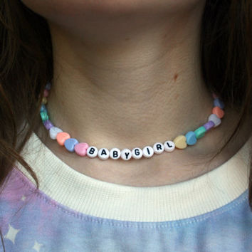 CUSTOM CHOKER Necklace // Cyber Kawaii Beaded Lettered Words Adjustable