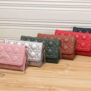 """Dior"" Fashion Quilted Solid Color Single Shoulder Messenger Bag Women Chain Small Square Bag Clutch"
