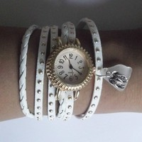 White Wrap Watch with Flip Flops