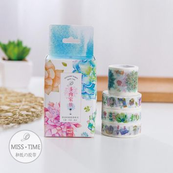 JC101 4 pcs/set Succulents Family Decorative Washi Tape DIY Scrapbooking Masking Tape School Office Supply Escolar Papelaria