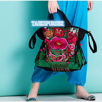 Embroidery bag/ Handmade bag/Tote Bag /Hmong Bag /Shoulder Purse/Vintage Embroidered bag/Fashion bags/Diagonal bag/Leisure bag/messenger bag