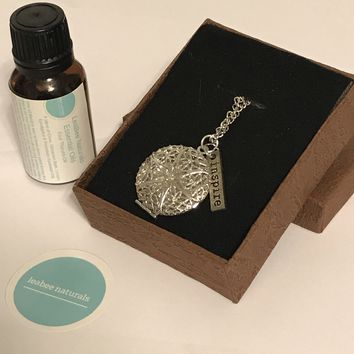 """Inspire Silver Plated Diffuser Necklace & Essential Oil Set • 24"""" necklace • Aromatherapy Diffuser Jewelry • aromatherapy gift set"""