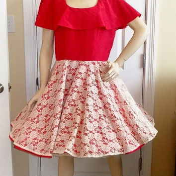 1970s Vintage Home Sewn Square Dance Dress in Cherry Red & Ivoy Lace Overlay, Size 12-14, Shawl Collar, Vintage Square Dance Costume Dress