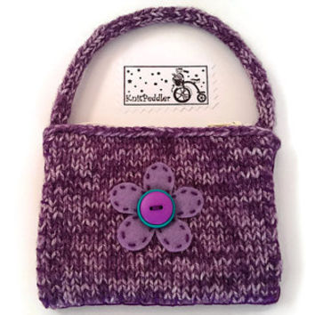 Knitted Coin Purse - Coin Purse - Small Knitted Bag - Flower Purse - Purple Coin Purse - Fabric Lined Purse - Plum Purple Pouch