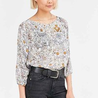 Ecote Floral Pintucked Dolman Blouse