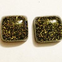 Square Resin Glitter Cabochons in Black and Gold, Handmade Flatbacks for Jewelry Making or Paper Crafts