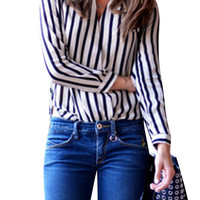 Black And White Vertical Stripe Long Sleeve Open Front High-Low Blouse