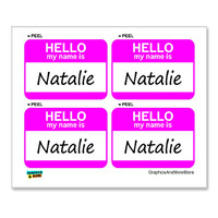 Natalie Hello My Name Is - Sheet of 4 Stickers