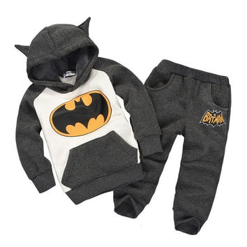 2015 Winter Fleece Batman Boys Clothes Sets Thick Children's Hooded Coats Pants Suits Kids Tracksuits Hoodies Sweater Trouser