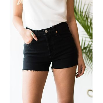 Levis 501 High Waist Black Shorts