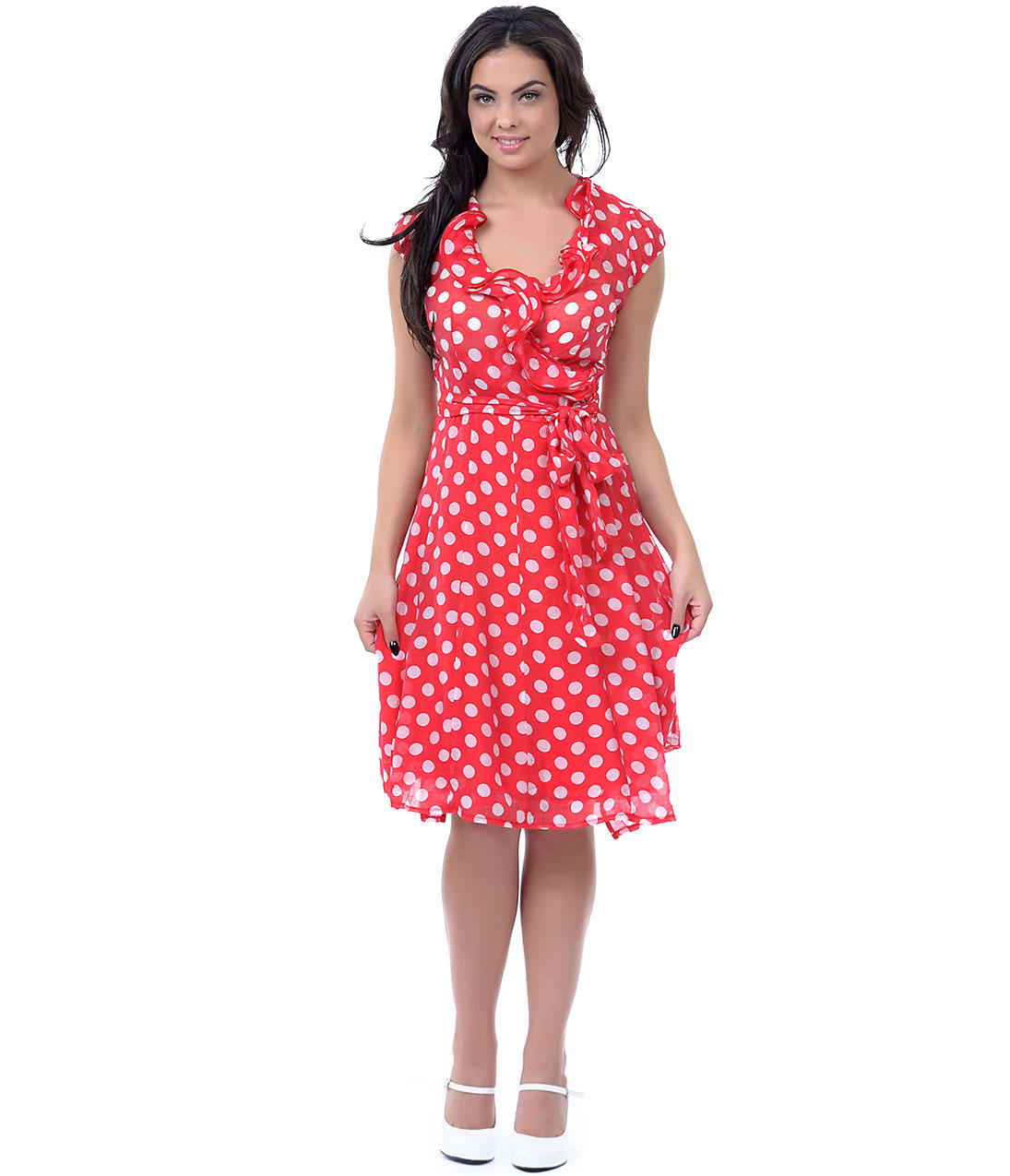 Red Amp White Polka Dot Ruffle Wrap Dress From Unique Vintage